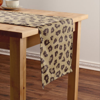 Leopard Skin Animal Fur Long Table Runner