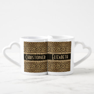 Leopard Skin Couple Personalize Coffee Mug Set