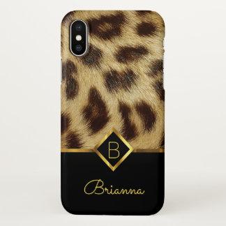 Leopard Skin Faux Fur Ladies Monogram Black Gold iPhone X Case