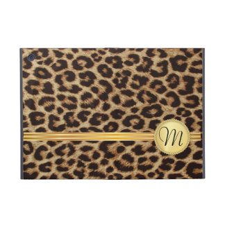 Leopard Skin Girly Gold Monogram Covers For iPad Mini