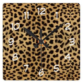 leopard skin print  wild cat clock