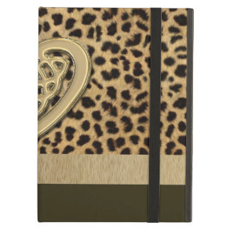 Leopard Skin Print with Gold Celtic Heart iPad Air Cases