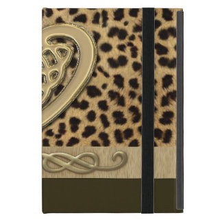 Leopard Skin Print with Gold Celtic Heart iPad Mini Cases