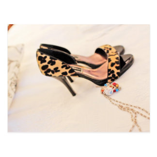 leopard skin shoes postcard