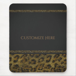 Leopard Sparkle Sequins Glam Chic Modern Bling Mouse Pad