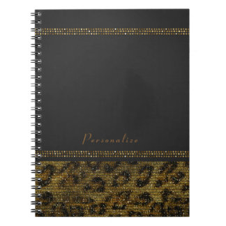 Leopard Sparkle Sequins Glam Chic Modern Cheetah Notebook