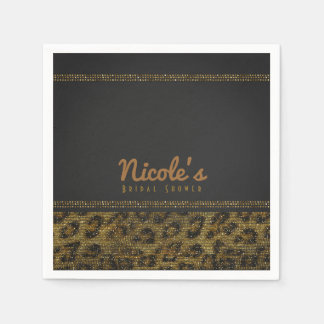 Leopard Sparkle Sequins Glam Chic Modern Party Napkin