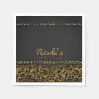 Leopard Sparkle Sequins Glam Chic Modern Party Paper Napkin