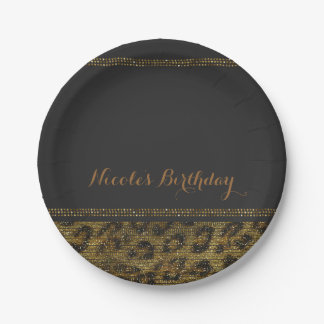 Leopard Sparkle Sequins Glam Chic Modern Party Paper Plate