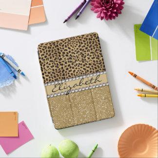 Leopard Spot Gold Glitter Rhinestone Diamond iPad Pro Cover