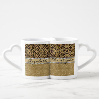 Leopard Spot Gold Glitter Rhinestone PHOTO PRINT Coffee Mug Set