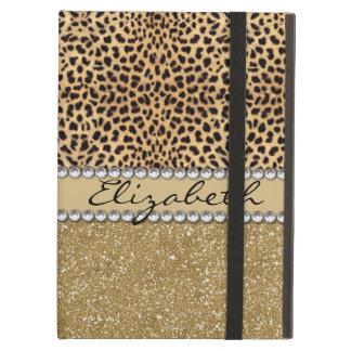 Leopard Spot Gold Glitter Rhinestone PHOTO PRINT Cover For iPad Air