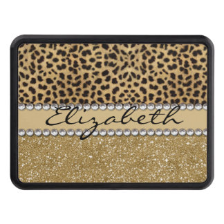 Leopard Spot Gold Glitter Rhinestone PHOTO PRINT Trailer Hitch Cover