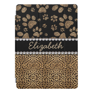 Leopard Spot Paw Prints Rhinestone Diamonds iPad Pro Cover