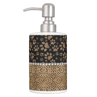 Leopard Spot Paw Prints Rhinestone PHOTO PRINT Bathroom Set
