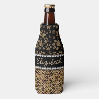 Leopard Spot Paw Prints Rhinestone PHOTO PRINT Bottle Cooler