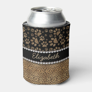 Leopard Spot Paw Prints Rhinestone PHOTO PRINT Can Cooler