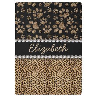 Leopard Spot Paw Prints Rhinestone PHOTO PRINT Clipboard