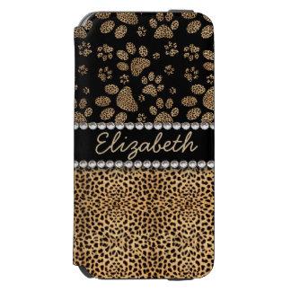 Leopard Spot Paw Prints Rhinestone PHOTO PRINT Incipio Watson™ iPhone 6 Wallet Case