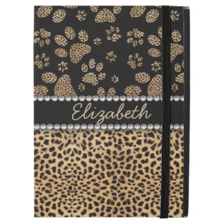"Leopard Spot Paw Prints Rhinestone PHOTO PRINT iPad Pro 12.9"" Case"