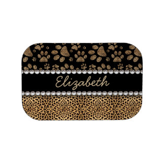 Leopard Spot Paw Prints Rhinestone PHOTO PRINT Lunch Box