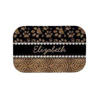 Leopard Spot Paw Prints Rhinestone PHOTO PRINT Lunch Boxes