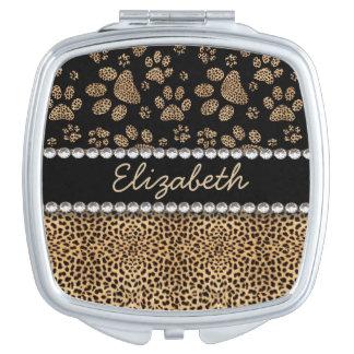 Leopard Spot Paw Prints Rhinestone PHOTO PRINT Makeup Mirror