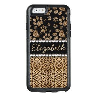 Leopard Spot Paw Prints Rhinestone PHOTO PRINT OtterBox iPhone 6/6s Case