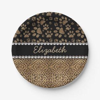 Leopard Spot Paw Prints Rhinestone PHOTO PRINT Paper Plate