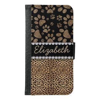 Leopard Spot Paw Prints Rhinestone PHOTO PRINT Samsung Galaxy S6 Wallet Case