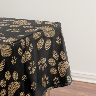 Leopard Spot Paw Prints Tablecloth