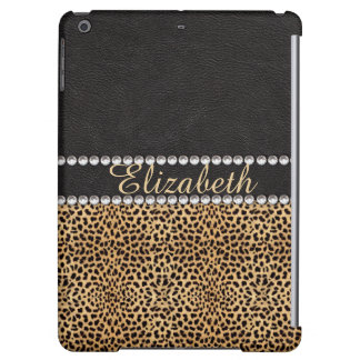 Leopard Spot Rhinestone Diamonds Monogram PHOTO iPad Air Case
