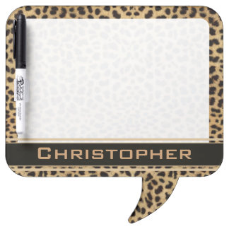 Leopard Spot Skin Print Personalized Dry Erase Board