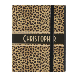 Leopard Spot Skin Print Personalized iPad Folio Cover