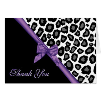 Leopard Spots and Purple Ribbon Thank You Card