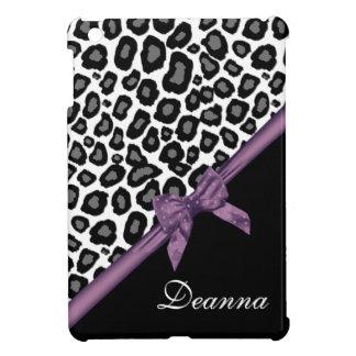 Leopard Spots and Ribbon Purple iPad Mini Cases