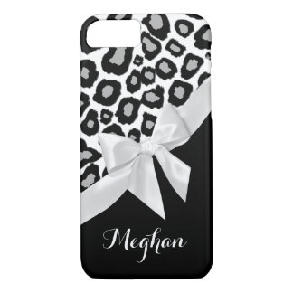 Leopard Spots and White Bow with Name iPhone 7 Case