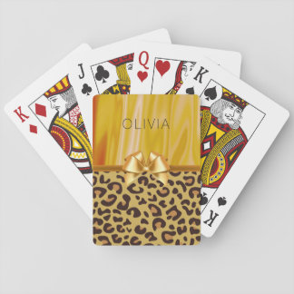 Leopard Spots Animal Print Girly Glam Gold Satin Playing Cards
