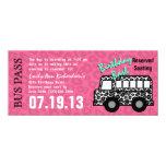 "Leopard Spots Bus Pass Birthday Party 4"" X 9.25"" Invitation Card"