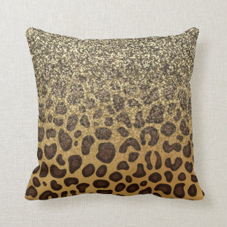 Leopard Spots Champagne Gold Glitter Animal Print Throw Pillow