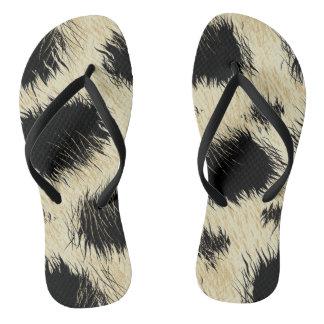 Leopard spots fur flip flops