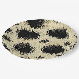 Leopard spots fur paper plate