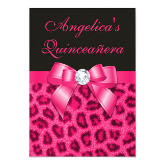 "Leopard Spots Hot Pink Bow Quinceañera 5"" X 7"" Invitation Card"