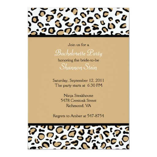 "Leopard Spots Invitation - Brown 5"" X 7"" Invitation Card"