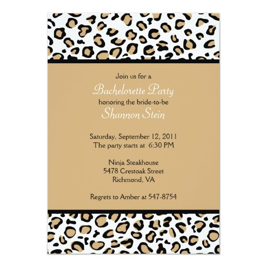 Leopard Spots Invitation - Brown