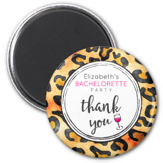 Leopard Spots Pattern Bachelorette Party Thank You 2 Inch Round Magnet