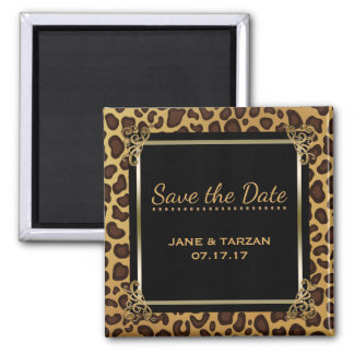 Leopard Spots Pattern Elegant Gold Save the Date Magnet