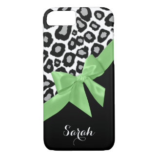 Leopard Spots Spring Green Bow with Name iPhone 7 Case