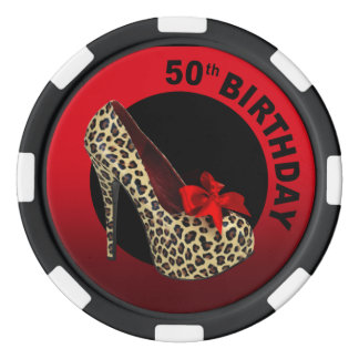 Leopard Stiletto 50th Birthday red black Poker Chips