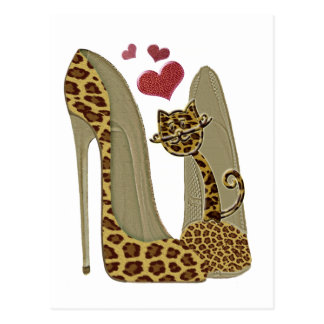 Leopard Stiletto Shoes and Cat Art Postcard